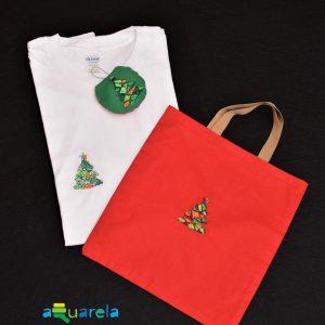 Set de cadou pentru Crăciun. Contine tricou, plasă și glob